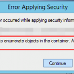 Failed to enumerate objects in the container