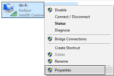 Ethernet doesn't have a valid IP configuration error