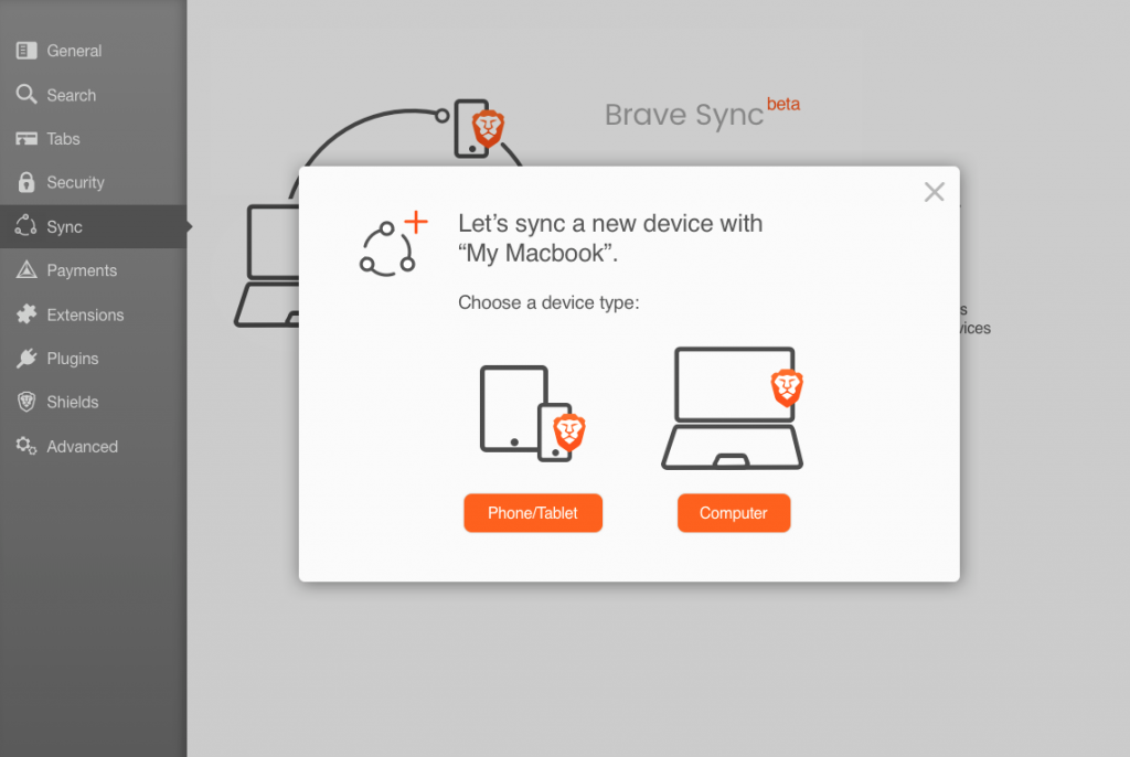 Brave browser sync