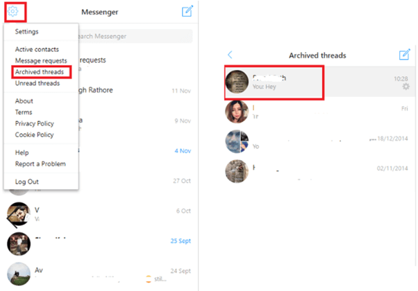 Check Facebook archived messages on Pc