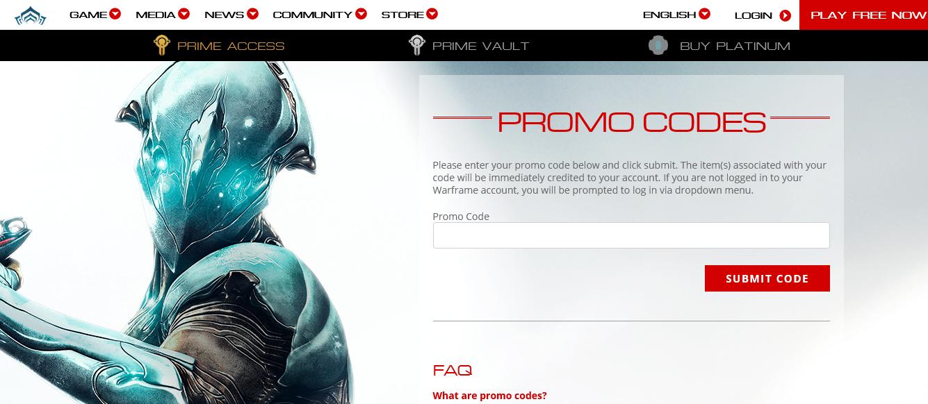 Redeem Warframe promo codes