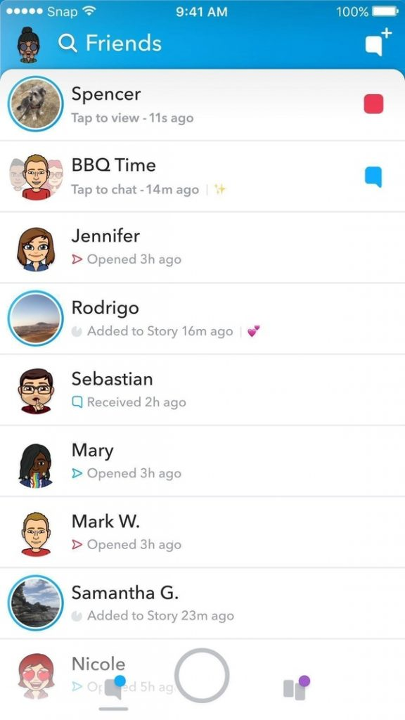 Snapchat contact list